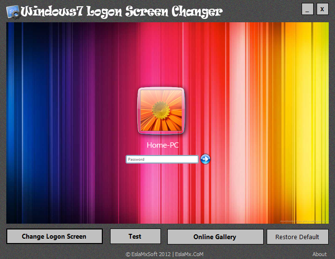 برنامج Windows7 Logon Screen Changer